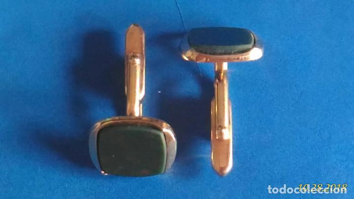 Antigüedades: Gemelos de camisa. Piedras en negro. - Foto 2 - 138083762