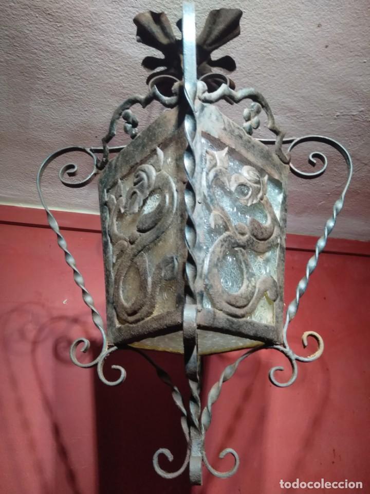 FAROL DE FORJA EPOCA MODERNISTA CON DRAGONES 62 CM ALTURA (Antigüedades - Iluminación - Faroles Antiguos)