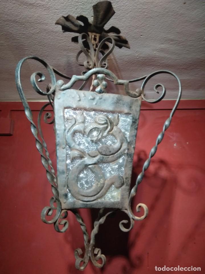 Antigüedades: FAROL DE FORJA EPOCA MODERNISTA CON DRAGONES 62 CM ALTURA - Foto 2 - 138098150