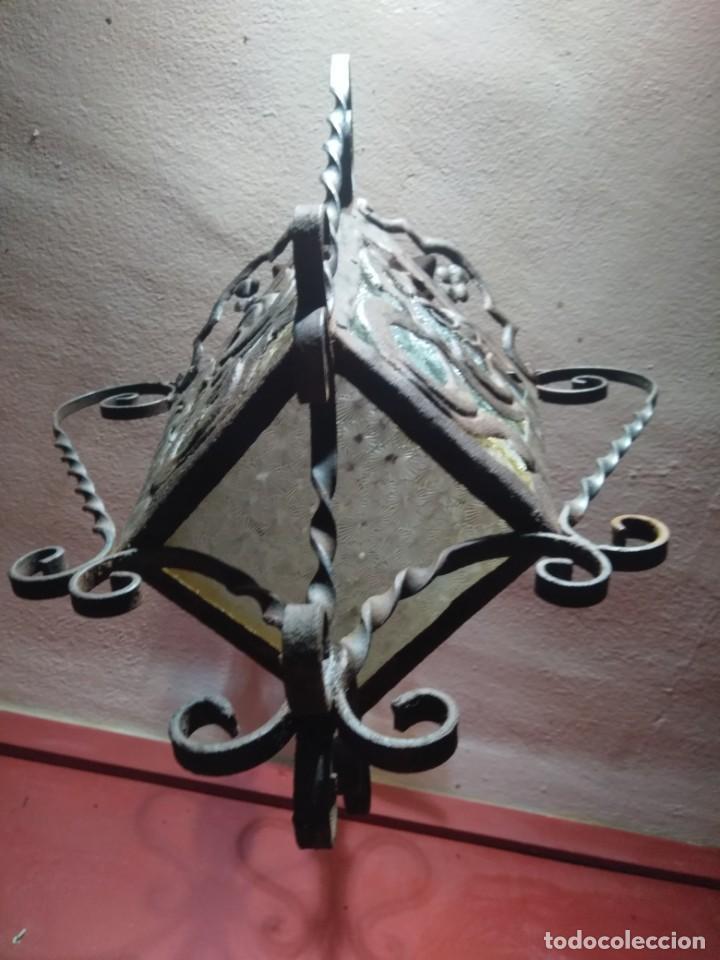 Antigüedades: FAROL DE FORJA EPOCA MODERNISTA CON DRAGONES 62 CM ALTURA - Foto 3 - 138098150