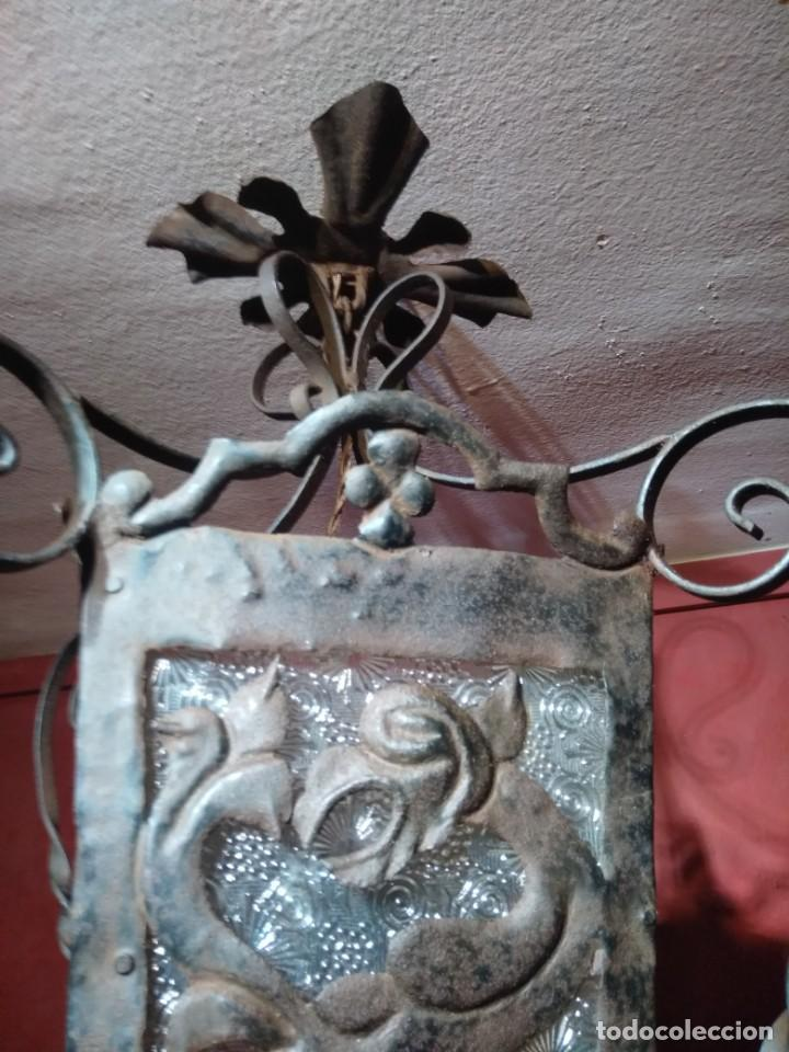 Antigüedades: FAROL DE FORJA EPOCA MODERNISTA CON DRAGONES 62 CM ALTURA - Foto 4 - 138098150