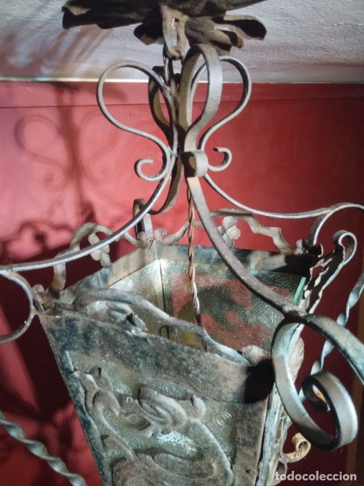 Antigüedades: FAROL DE FORJA EPOCA MODERNISTA CON DRAGONES 62 CM ALTURA - Foto 5 - 138098150
