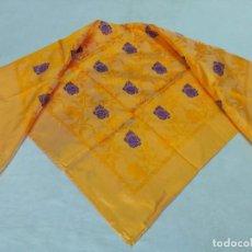 Antigüedades - Pañuelo de seda brocado, amarillo y morado. - 138108218