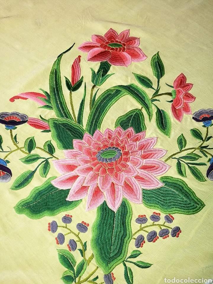 Antigüedades: Maravilloso mantón antiguo, imperio de cuarterones - Foto 4 - 138148642