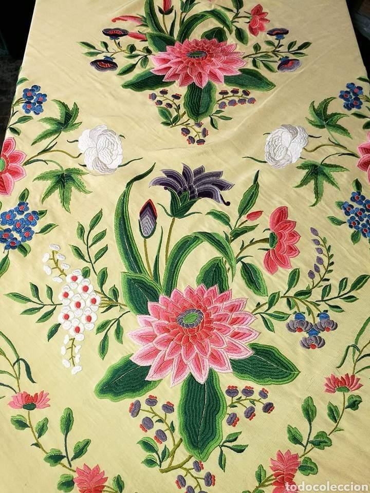 Antigüedades: Maravilloso mantón antiguo, imperio de cuarterones - Foto 5 - 138148642