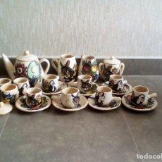 Antigüedades: ANTIGUO JUEGO DE CAFE, HECHO Y PINTADO A MANO.. Lote 138236786