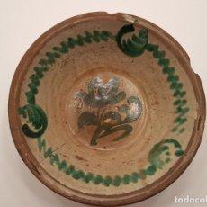 Antigüedades: GRAN LEBRILLO FAJALAUZA, (GRANADA), TONOS VERDES, SIGLO XIX, (LAÑADO), (42 CM DIÁMETRO). Lote 138262758