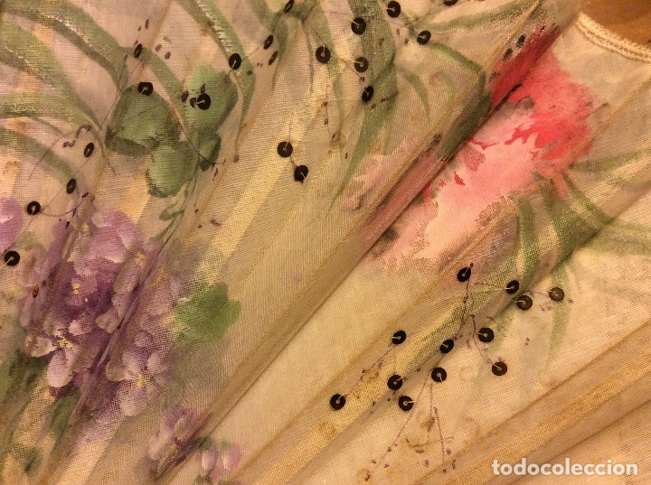 Antigüedades: Abanico en gasa pintado hueso antiguo. - Foto 4 - 138367794