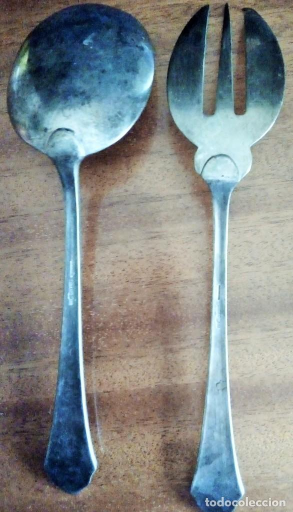 Antiquitäten: Plata Meneses: Cuchara y tenedor de servir 22 cm - Foto 2 - 138552882