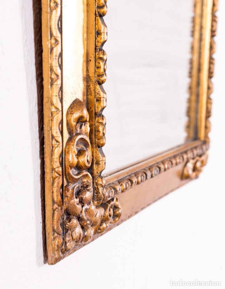 Antigüedades: Espejo Antiguo De Madera y Pan De Oro - Foto 3 - 138577090