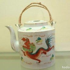 Antigüedades: BULE EN PORCELANA CHINA FONDO BLANCO DRAGÓN Y PÁJARO XIX RARO. Lote 138582750