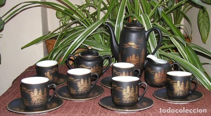 JUEGO CAFÉ JAPONÉS PAISAJE DORADO FONDO NEGRO MATE CÁSCARA HUEVO FONDO CARA GEISHA KUTANI SATSUMA (Antigüedades - Porcelana y Cerámica - Japón)
