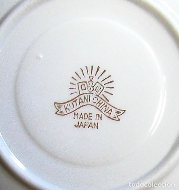 Antigüedades: JUEGO CAFÉ JAPONÉS PAISAJE DORADO FONDO NEGRO MATE CÁSCARA HUEVO FONDO CARA GEISHA KUTANI SATSUMA - Foto 4 - 138605074