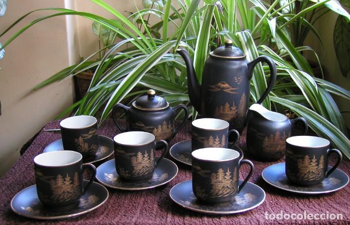 Antigüedades: JUEGO CAFÉ JAPONÉS PAISAJE DORADO FONDO NEGRO MATE CÁSCARA HUEVO FONDO CARA GEISHA KUTANI SATSUMA - Foto 10 - 138605074