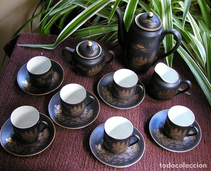 Antigüedades: JUEGO CAFÉ JAPONÉS PAISAJE DORADO FONDO NEGRO MATE CÁSCARA HUEVO FONDO CARA GEISHA KUTANI SATSUMA - Foto 12 - 138605074