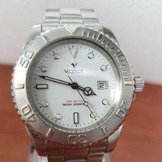 Relojes - Viceroy: RELOJ CABALLERO VICEROY DE CUARZO CON CORREA DE ACERO ORIGINAL, ESFERA BLANCA, BISEL GIRATORIO . Lote 138607466