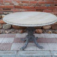 Antigüedades: MESA DE SALÓN COMEDOR ANTIGUA COLOR GRIS VINTAGE ESTILO INDUSTRIAL MESA GRANDE REDONDA VELADOR. Lote 138617822
