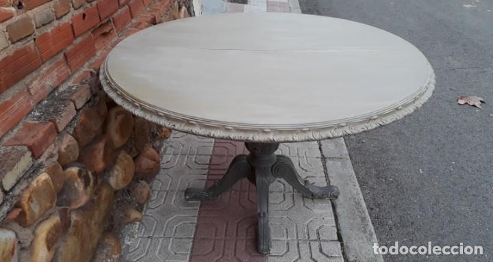 Mesa de salón comedor antigua color gris vintage estilo industrial mesa  grande redonda velador