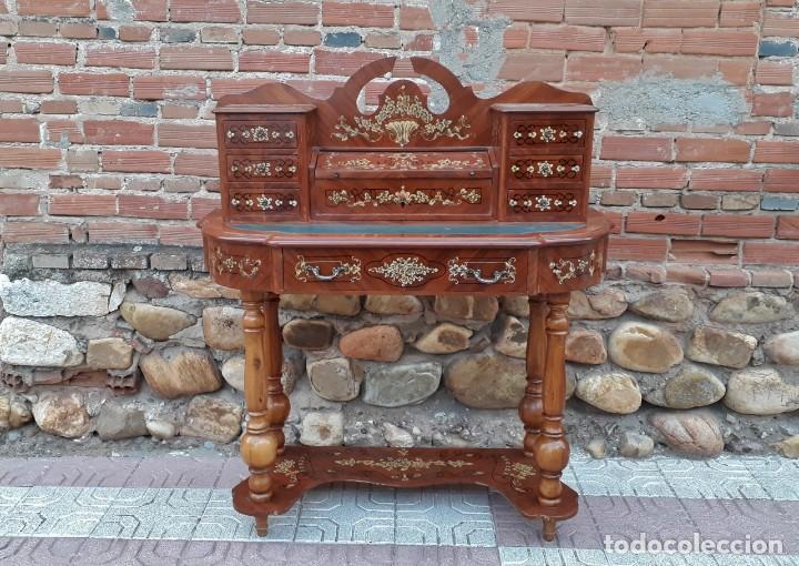 ESCRITORIO SECRETER ANTIGUO CUERO VERDE ESTILO ISABELINO. BARGUEÑO ANTIGUO ESTILO FRANCÉS. ARQUIMESA (Antigüedades - Muebles Antiguos - Bargueños Antiguos)