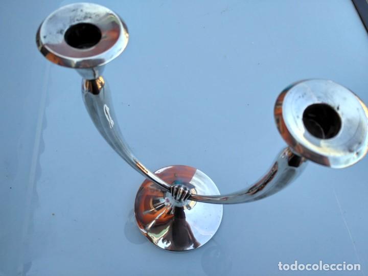 Antigüedades: Dos candelabros de plata 925 - Foto 3 - 138632666