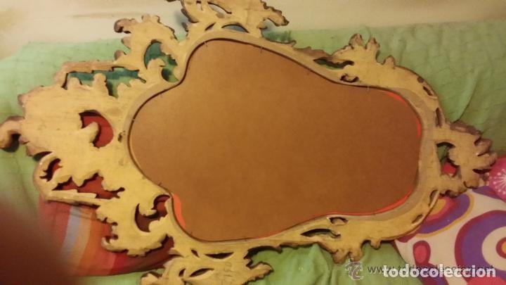 Antigüedades: Espejo Marco de Madera Tallada a Mano Maciza decorada en pan de oro. Cornucopia. Antiguo. Joya - Foto 5 - 138634902