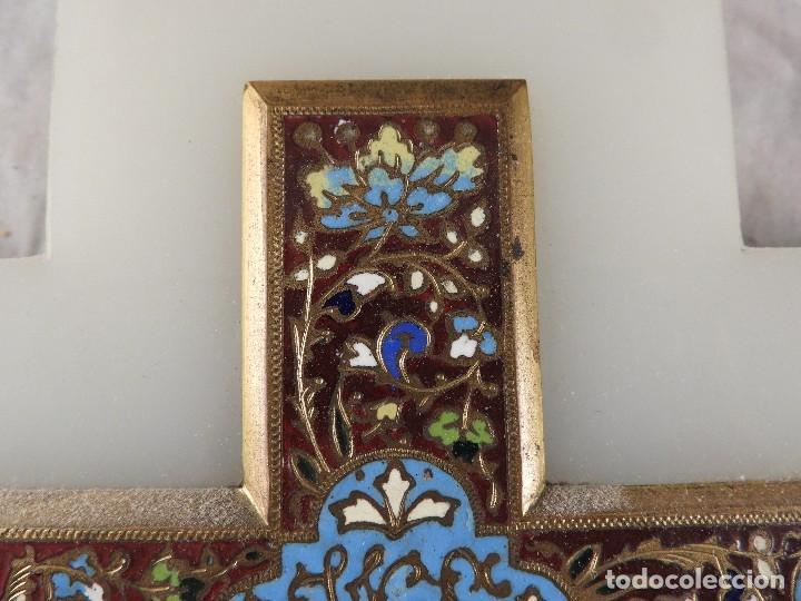 Antigüedades: BENDITERA ANTIGUA DE MARMOL Y BRONCE CLOISONNE - Foto 5 - 138648954