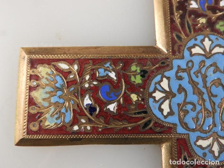 Antigüedades: BENDITERA ANTIGUA DE MARMOL Y BRONCE CLOISONNE - Foto 6 - 138648954