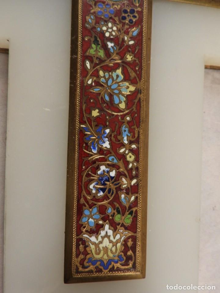 Antigüedades: BENDITERA ANTIGUA DE MARMOL Y BRONCE CLOISONNE - Foto 8 - 138648954