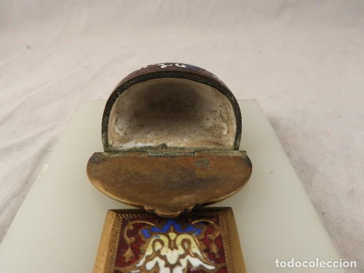 Antigüedades: BENDITERA ANTIGUA DE MARMOL Y BRONCE CLOISONNE - Foto 10 - 138648954