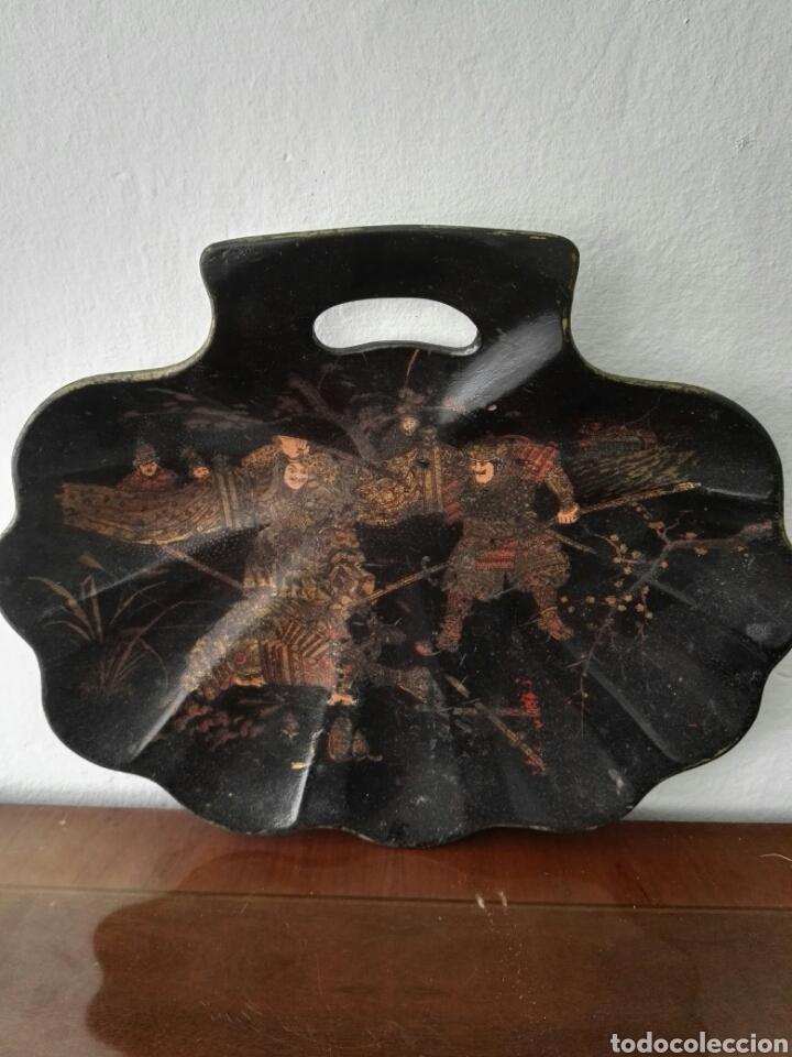 Antigüedades: Bandeja de madera Lacada con forma de concha. China - Foto 7 - 49594306