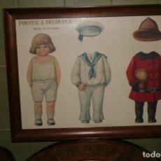Antigüedades: ANTIGUO CUADRO MUÑECA MUÑECOS RECORTABLES POUPPE A DECOUPER MODELE ANCIEN-COPIE. Lote 138672154