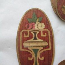Antiguidades: LOTE DE MUY ANTIGUOS MEDALLONES MARQUETERIA MADERAS EXOTICAS. Lote 138674262