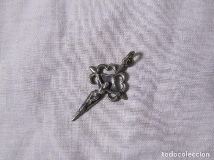Antigüedades: Crucifijo de plata para colgar o rosario - Foto 2 - 138712978