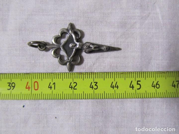 Antigüedades: Crucifijo de plata para colgar o rosario - Foto 4 - 138712978