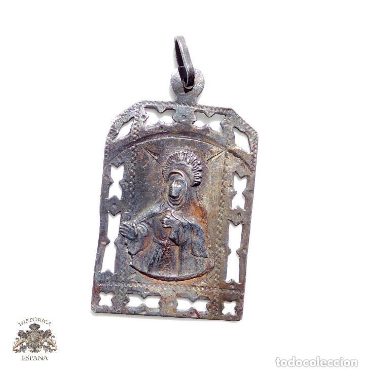 ANTIGUA MEDALLA EN PLATA SANTA TERESA - RECUERDO DE AVILA (Antigüedades - Religiosas - Medallas Antiguas)