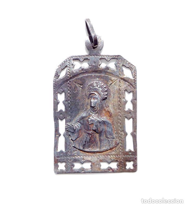 Antigüedades: ANTIGUA MEDALLA EN PLATA SANTA TERESA - RECUERDO DE AVILA - Foto 2 - 138743870