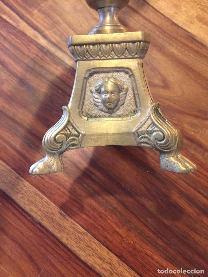 CANDELABRO TIPO IGLESIA DE BRONCE (Antigüedades - Religiosas - Orfebrería Antigua)