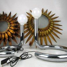 Antigüedades: RARISIMA! PAREJA LAMPARA SNAKE ANTIGUA VINTAGE DISEÑO METALARTE J.M SAN MIGUEL. Lote 138773950