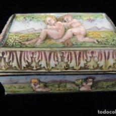Antigüedades: CAJA JOYERO PORCELANA TIPO CAPODIMONTE. Lote 138780630
