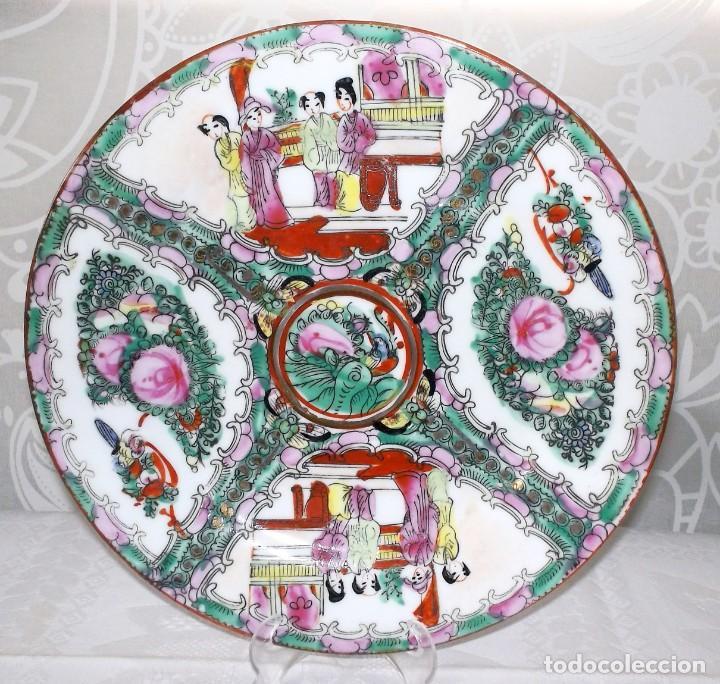 Antigüedades: PLATO CHINO DE PORCELANA-MACAO-PINTADO A MANO 225 CM - Foto 3 - 138795178
