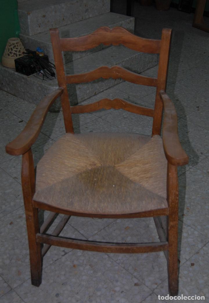 Antigüedades: SILLA SILLÓN CON ASIENTO DE ANEA O ENEA - Foto 3 - 138812418