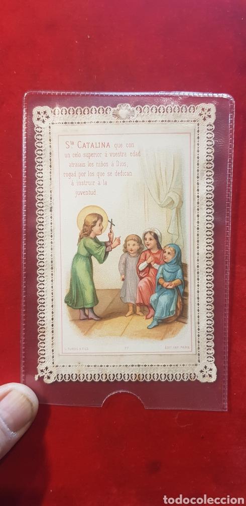 ESTAMPA RELIGIOSA DE SANTA CATALINA CON PUNTILLA HACIA 1900 (Antigüedades - Religiosas - Varios)