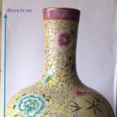 Antigüedades: ANTIGUO JARRON CHINO ,FAMILIA ROSA 54CM.DÉCADA AÑOS 40/50. Lote 138823890