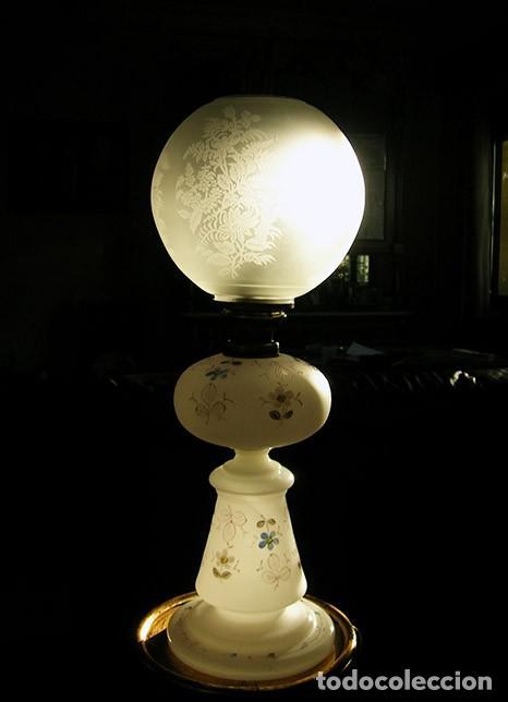 QUINQUÉ ANTIGUO DE OPALINA (Antigüedades - Iluminación - Quinqués Antiguos)