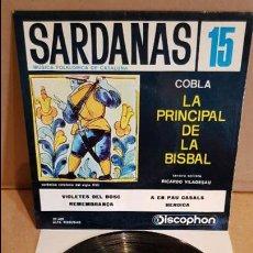 Discos de vinilo: COBLA LA PRINCIPAL DE LA BISBAL / SARDANAS 15 / EP - DISCOPHON - 1965 / MBC. ***/***. Lote 138866286