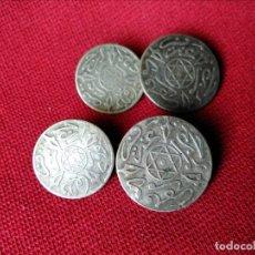 Antigüedades: GEMELOS ANTIGUOS PLATA MONEDA DIRHAM. Lote 138867434