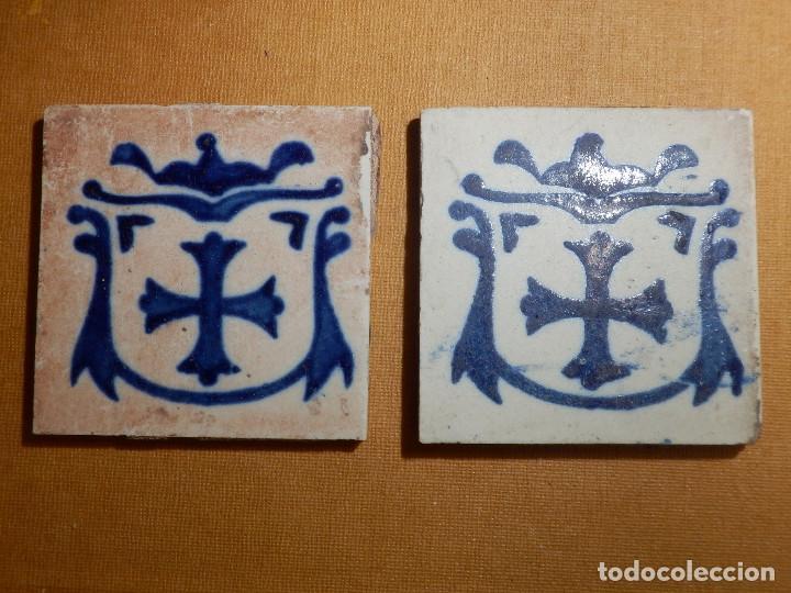 ANTIGUA OLAMBRILLA - RACHOLA - TACO - AZULEJO - 7 X 7 CM - JUEGO DE 2 UNIDADES, PAREJA (Antigüedades - Porcelanas y Cerámicas - Azulejos)