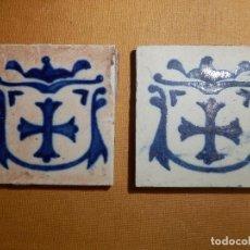 Antigüedades: ANTIGUA OLAMBRILLA - RACHOLA - TACO - AZULEJO - 7 X 7 CM - JUEGO DE 2 UNIDADES, PAREJA. Lote 138907810