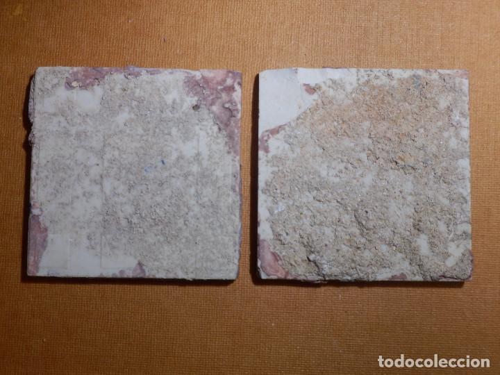 Antigüedades: Antigua Olambrilla - Rachola - Taco - Azulejo - 7 x 7 cm - Juego de 2 unidades, Pareja - Foto 2 - 138907810