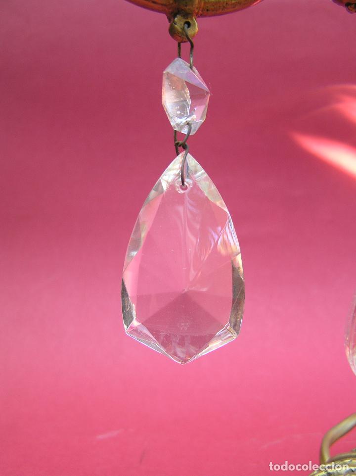 Antigüedades: CANDELABRO DE BRONCE TRES BRAZOS . Lágrimas de cristal .Electrificado y funcionando. ESPECTACULAR C - Foto 5 - 138925078